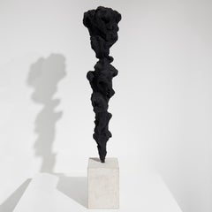 Black Totem no. 5 - Contemporary, painted bronze and Portland stone
