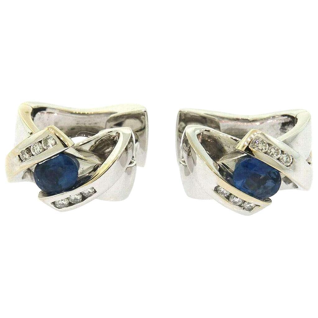 Guy Laroche 0.86 CTW Diamond & Sapphire Huggie Earrings in 18K