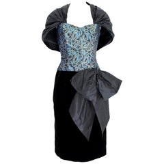 Guy Laroche 70s Blue Gold Black Velvet Evening Dress
