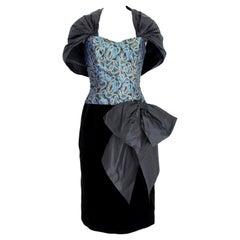 Guy Laroche 70s Blue Gold Black Velvet Evening Dress