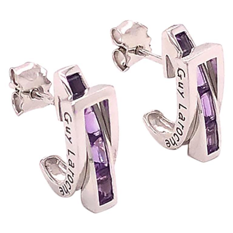 Guy Laroche Amethyst Designer 18 Karat Huggie Earrings For Sale