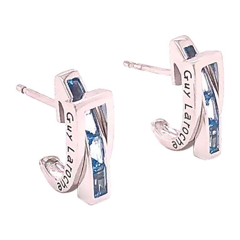 Guy Laroche Aquamarine Designer 18 Karat Huggie Earrings For Sale