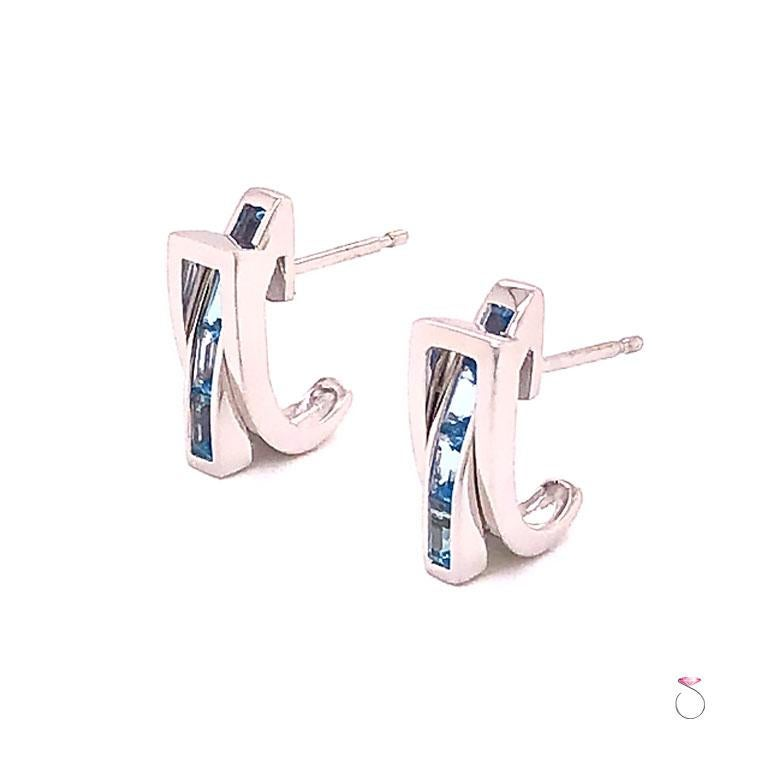 Modern Guy Laroche Aquamarine Designer 18 Karat Huggie Earrings For Sale