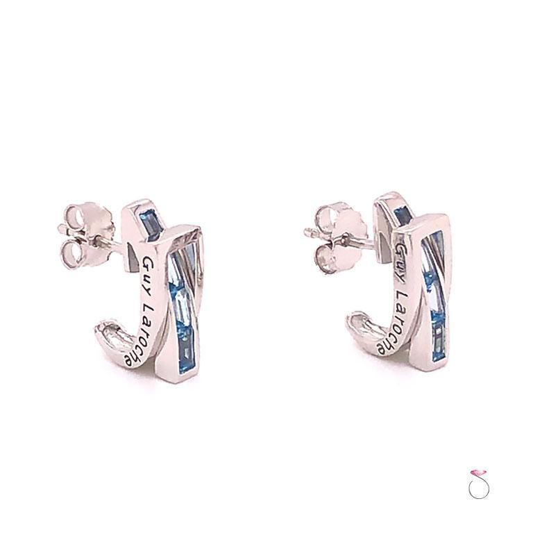 Emerald Cut Guy Laroche Aquamarine Designer 18 Karat Huggie Earrings For Sale