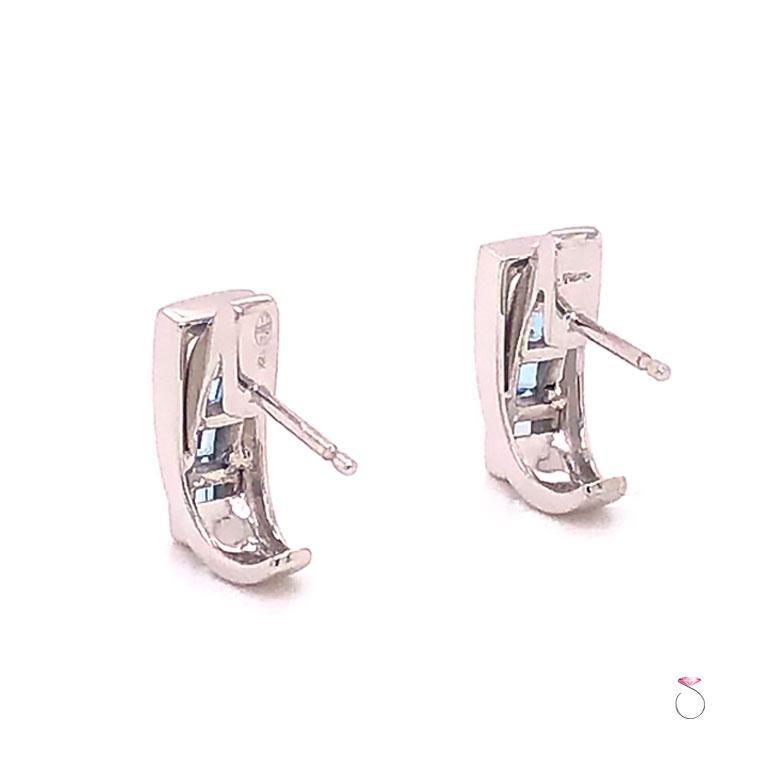 Women's or Men's Guy Laroche Aquamarine Designer 18 Karat Huggie Earrings For Sale