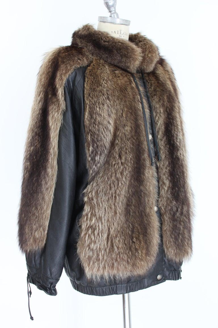 Women's Guy Laroche Black Leather Fox Fur Bomber Jacket  For Sale