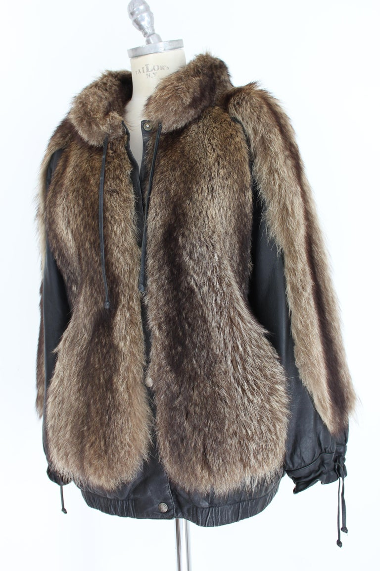Guy Laroche Black Leather Fox Fur Bomber Jacket  For Sale 1