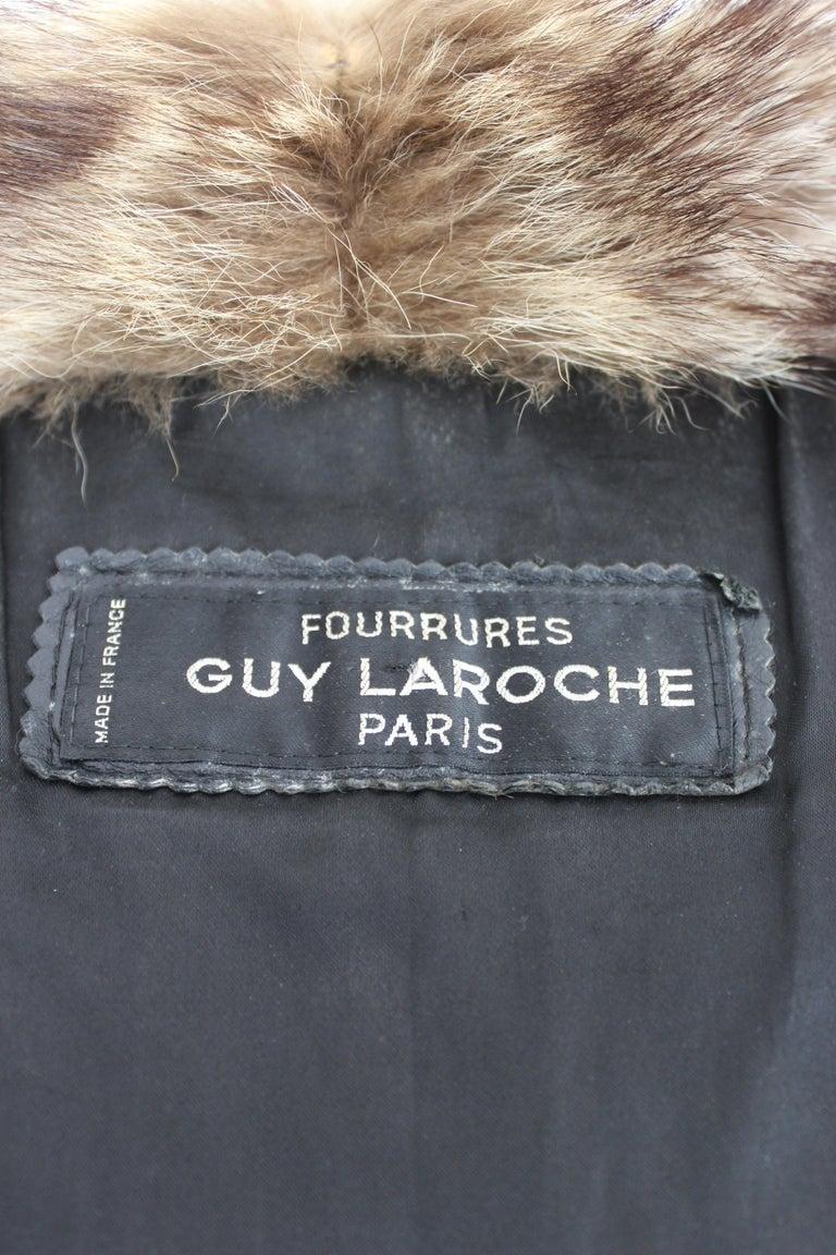 Guy Laroche Black Leather Fox Fur Bomber Jacket  For Sale 2
