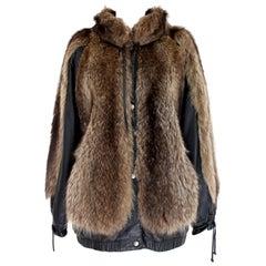 Guy Laroche Black Leather Fox Fur Bomber Jacket