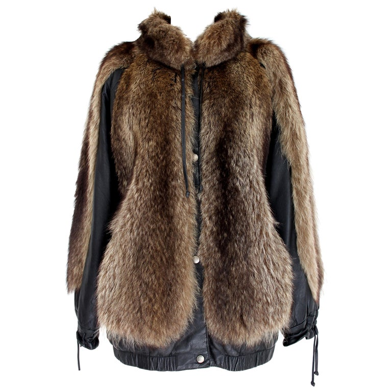 Guy Laroche Black Leather Fox Fur Bomber Jacket  For Sale