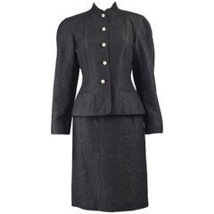Guy Laroche Black Silk Matelassé Mandarin Collar Vintage Skirt Suit, 1980s