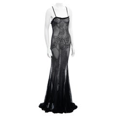 Guy Laroche black viscose lace trained evening dress, ss 2003