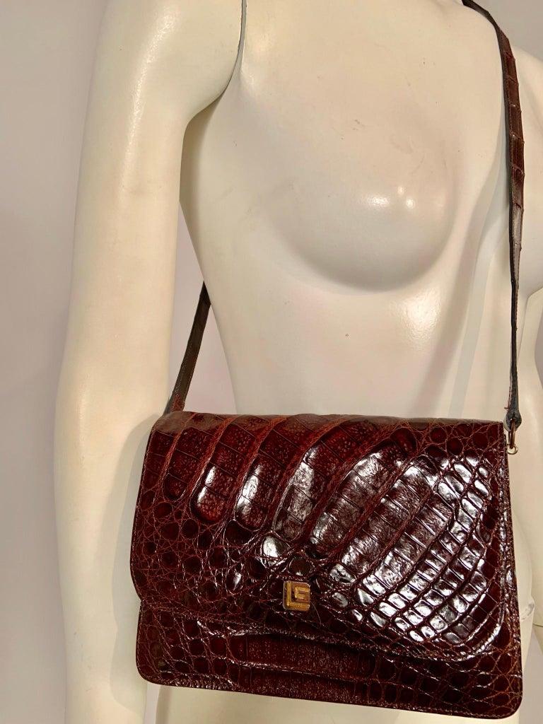 Women's or Men's Guy Laroche Brown Alligator Shoulder or Cross Body  Bag Never Used For Sale