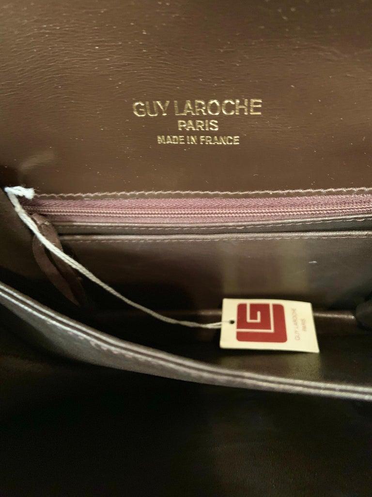 Guy Laroche Brown Alligator Shoulder or Cross Body  Bag Never Used For Sale 3