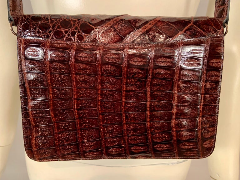 Guy Laroche Brown Alligator Shoulder or Cross Body  Bag Never Used For Sale 4