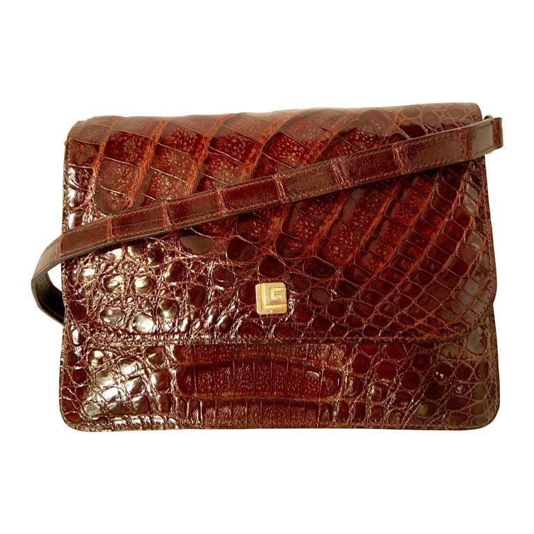Guy Laroche Brown Alligator Shoulder or Cross Body  Bag Never Used For Sale