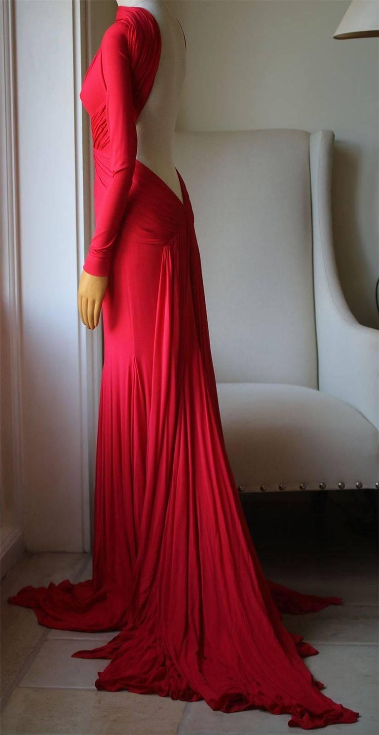 Guy Laroche By Herve L. Leroux Long-Sleeved Backless Gown at 1stdibs