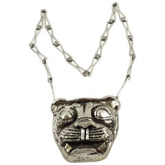 Guy Laroche Chrome Lion Medallion Necklace