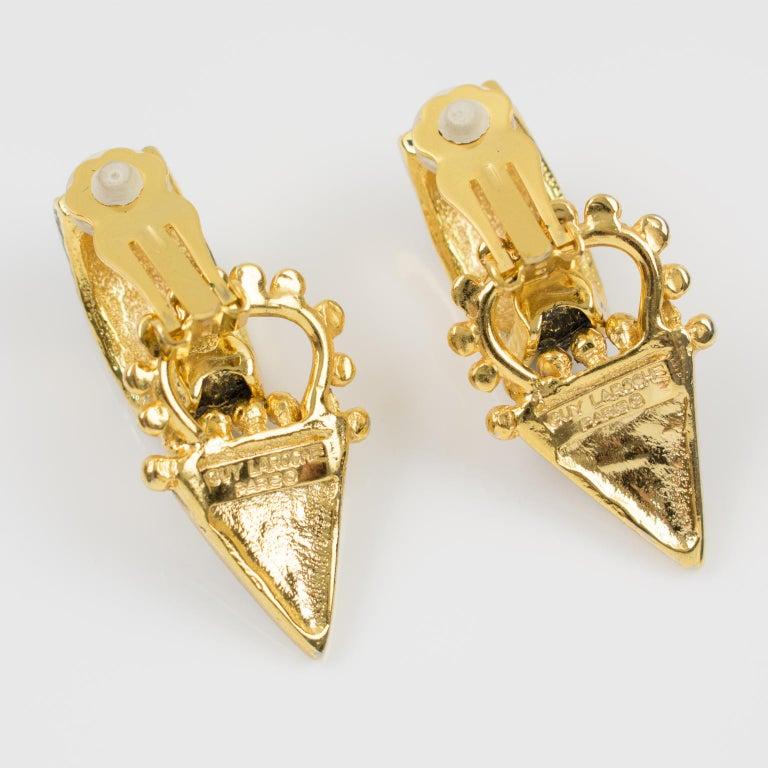 Women's Guy Laroche Dangle Black Enamel Clip Earrings For Sale
