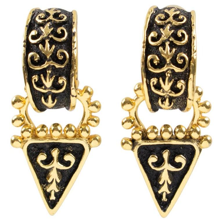 Guy Laroche Dangle Black Enamel Clip Earrings For Sale