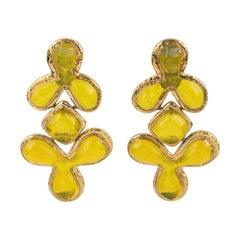 Guy Laroche Dangle Gilt Metal Clip Earrings Citrus Yellow Resin