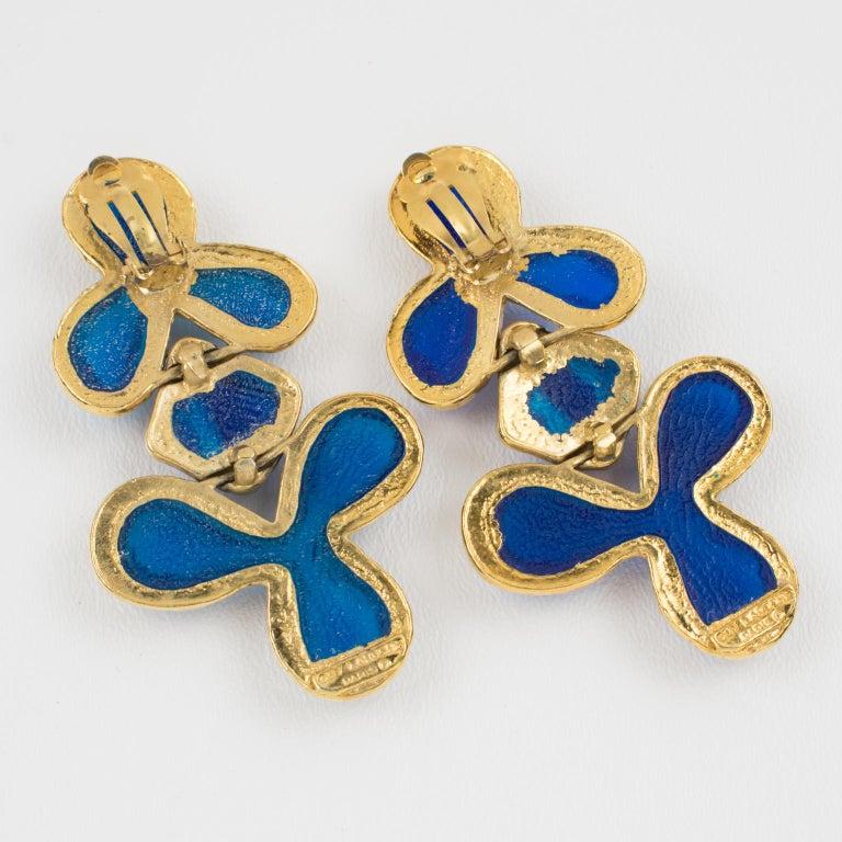 Women's Guy Laroche Dangle Gilt Metal Clip Earrings Cobalt Blue Resin