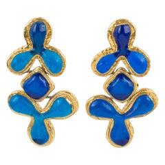 Guy Laroche Dangle Gilt Metal Clip Earrings Cobalt Blue Resin