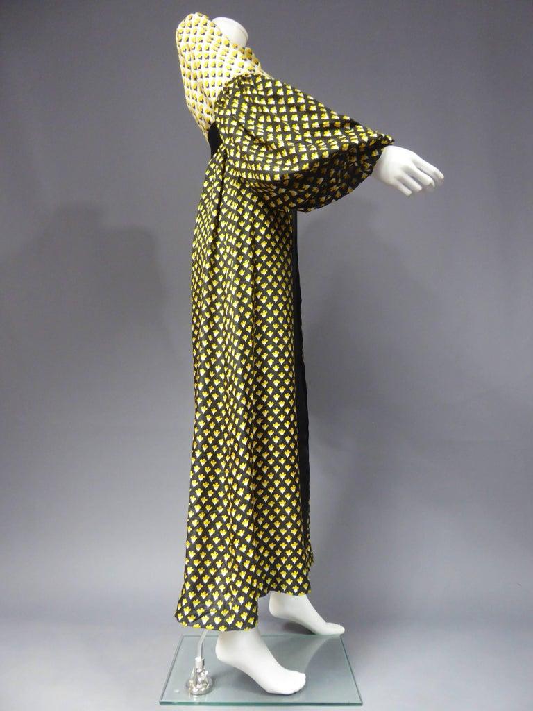 Black Guy Laroche Long printed silk Dress, Circa 1970 For Sale