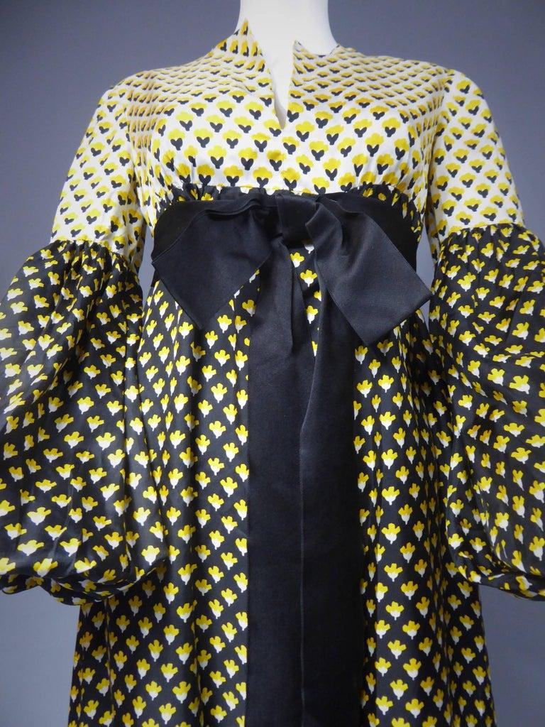 Guy Laroche Long printed silk Dress, Circa 1970 For Sale 1