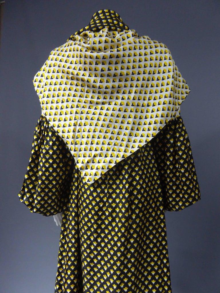 Guy Laroche Long printed silk Dress, Circa 1970 For Sale 4