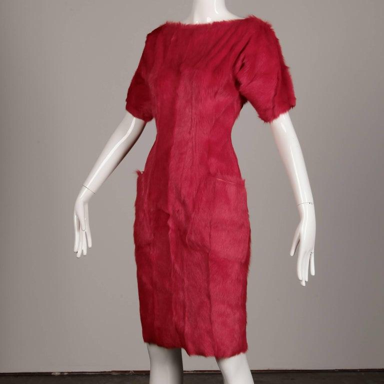 Red Guy Laroche Fur Dress For Sale