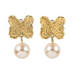 Guy Laroche Gilt Metal Butterfly Clip Earrings with Pink Pearl