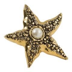 Guy Laroche Gilt Metal Starfish Pin Brooch