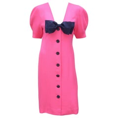 Guy Laroche Hot Pink Linen Dress With Blue Bow, 1980's