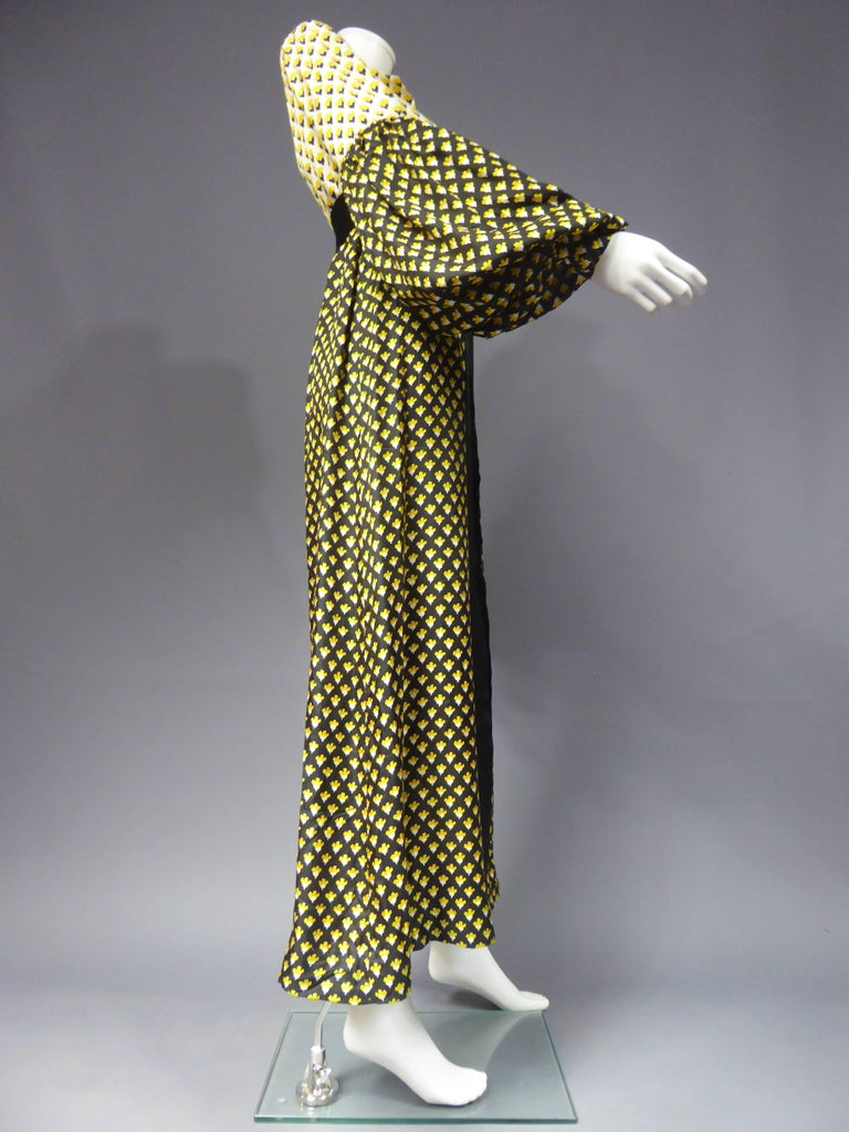 Black Guy Laroche Long printed silk Dress, Circa 1970 For Sale