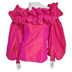Guy Laroche New Off Shoulder Silk Blouse 1980s