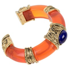 Guy Laroche Orange Lucite Jeweled Cuff Bracelet