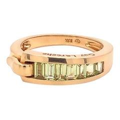 Guy Laroche Peridot Band Ring, 18 Karat Yellow Gold