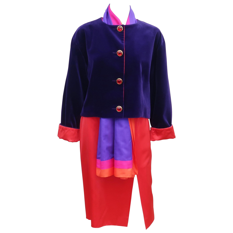 Guy Laroche Purple Velvet & Red Satin Evening Skirt Suit, 1980's