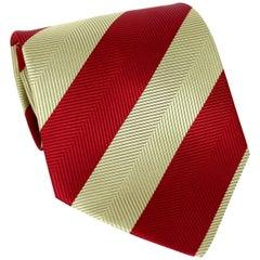 Guy Laroche Red Gold Silk Evening Regimental Tie