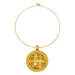Guy Laroche Rigid Collar Necklace Geometric Medallion