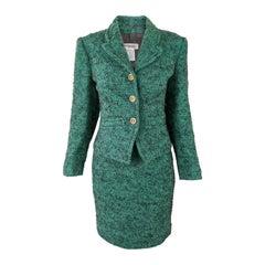 Guy Laroche Vintage Green Wool Bouclé Womens Skirt Suit, 1980s
