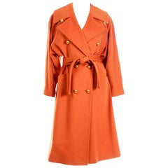 Guy Laroche Vintage Orange Cashmere Blend Double Breasted Trench Coat With Belt