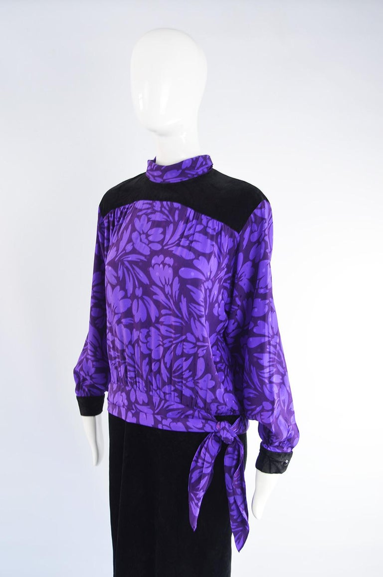 Guy Laroche Vintage Purple Satin Jacquard & Black Velvet Drop Waist Dress, 1980s In Good Condition For Sale In Doncaster, South Yorkshire
