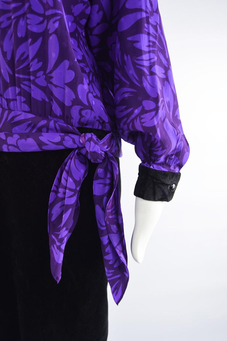 Guy Laroche Vintage Purple Satin Jacquard & Black Velvet Drop Waist Dress, 1980s For Sale 1