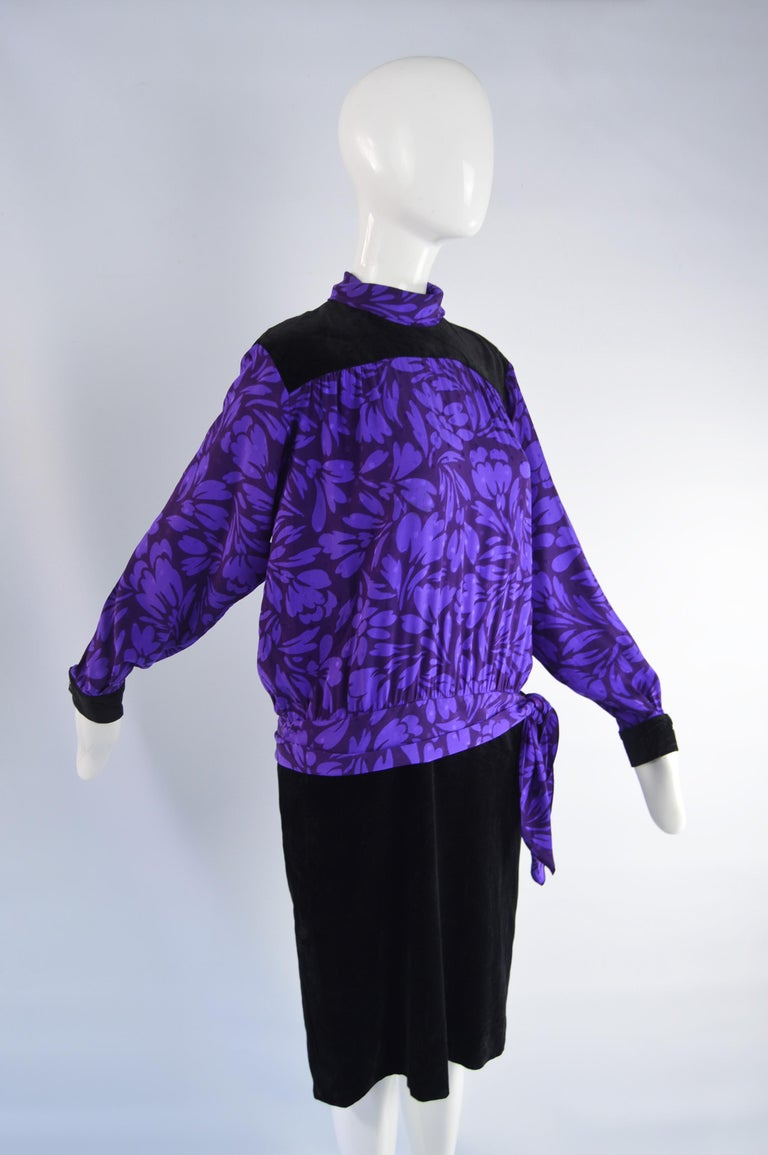 Guy Laroche Vintage Purple Satin Jacquard & Black Velvet Drop Waist Dress, 1980s For Sale 2
