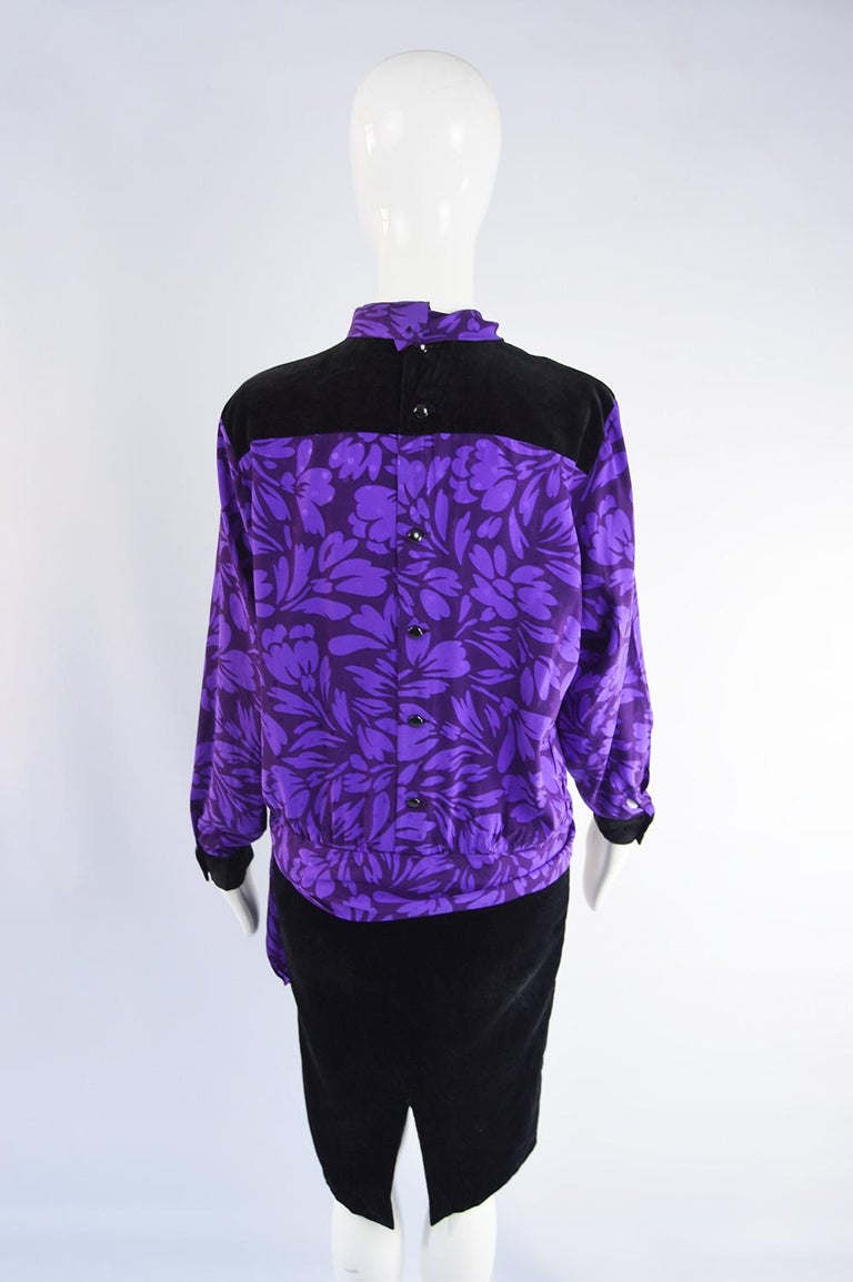 Guy Laroche Vintage Purple Satin Jacquard & Black Velvet Drop Waist Dress, 1980s For Sale 4