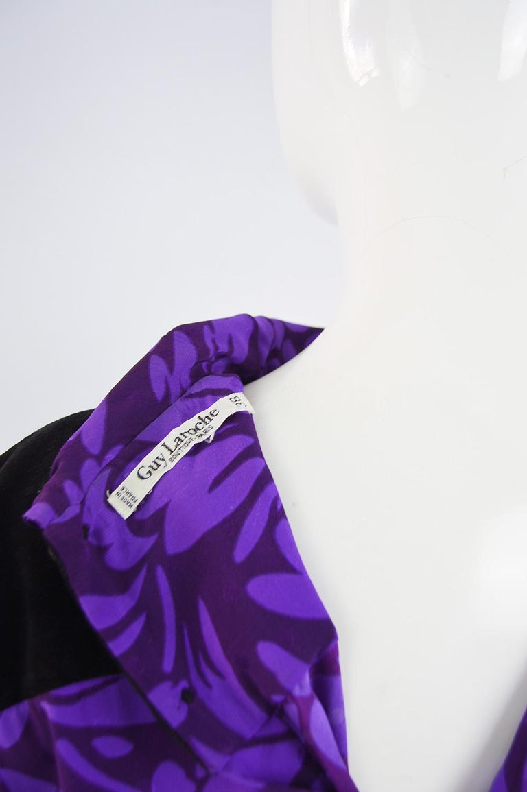 Guy Laroche Vintage Purple Satin Jacquard & Black Velvet Drop Waist Dress, 1980s For Sale 5