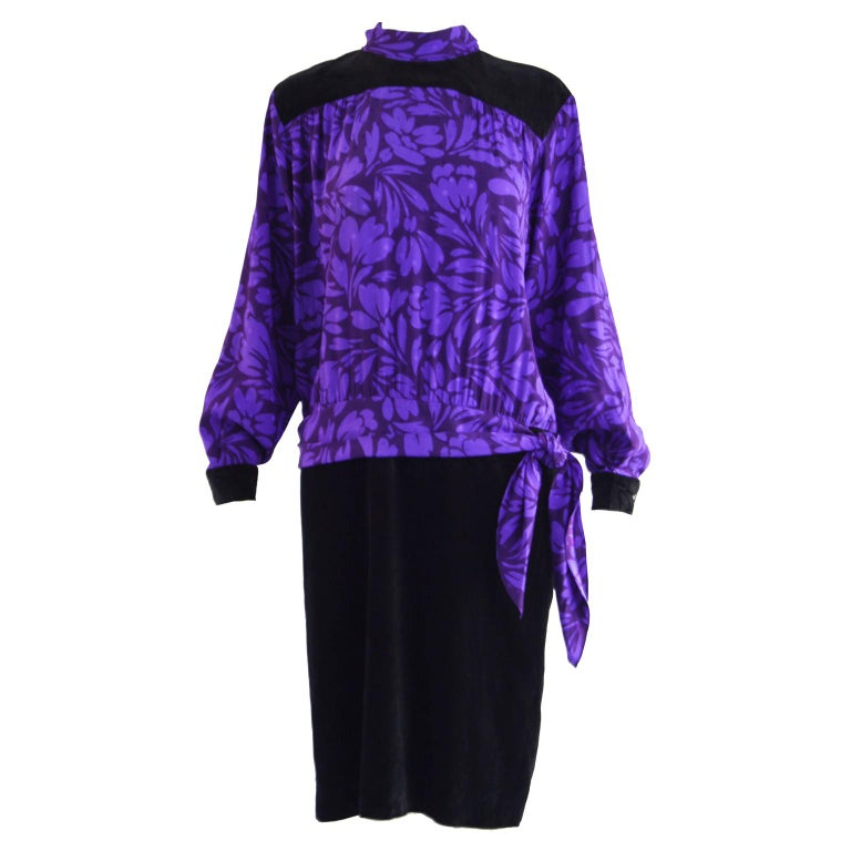 Guy Laroche Vintage Purple Satin Jacquard & Black Velvet Drop Waist Dress, 1980s For Sale