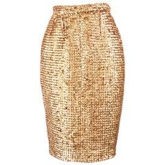 Guy Laroche Vintage Rose Gold Sequin Evening Party Skirt, 1980s